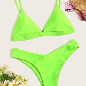 Neon Lime Triangle Top with High Leg Bikini Set